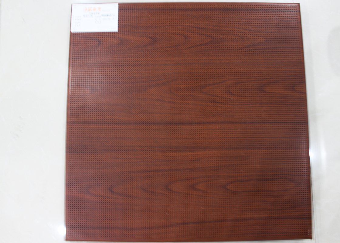 Dark Wood Color Mircoperforated Acoustic Aluminum Ceiling 600×600mm