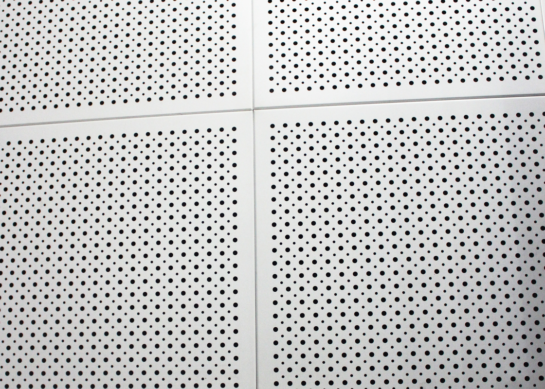Fireproof Colored Perforated Aluminum Ceiling Panels , Commercial Drop Ceiling Tiles 600 x 1200